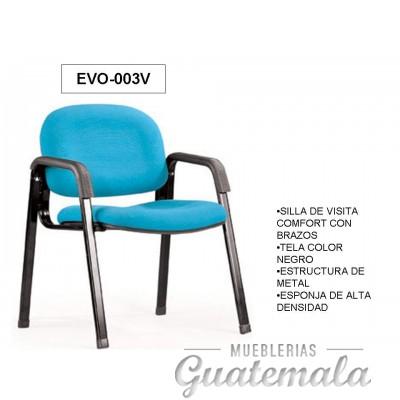 Silla de Visita Confort con Brazos en Tela Negra 7332-00060