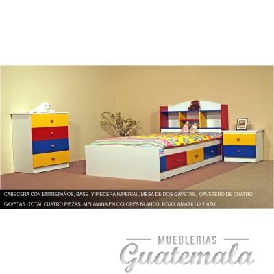 Recámara Infantil Prisma, blanco -rojo-azul-amarillo - 7331-00067