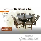 Comedor Nebraska Alto de 8 sillas C/Vidrio