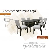 Comedor Nebraska Bajo C/Vidrio de 6 sillas